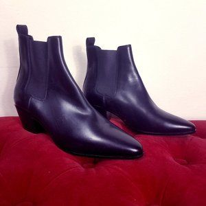 SAINT LAURENT Booties Leather Mismatched 39.5 36